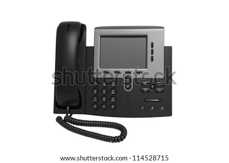 Black IP telephone with monitor representative of IP phone technology. - stock photo