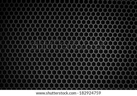 Black iron speaker grid texture - stock photo