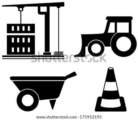 black isolated industrial set with construction objects - stock photo