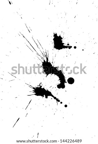 Black isolated ink blot with messy drops - stock photo