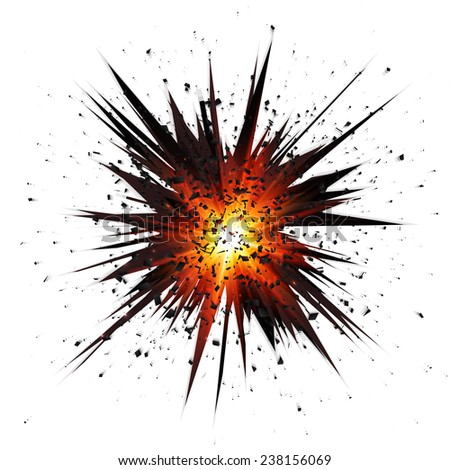 Black isolated star explosion with particles on white background - stock photo