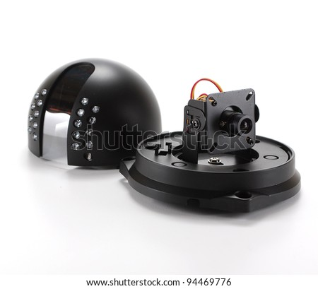 Black isolated video surveillance camera - stock photo