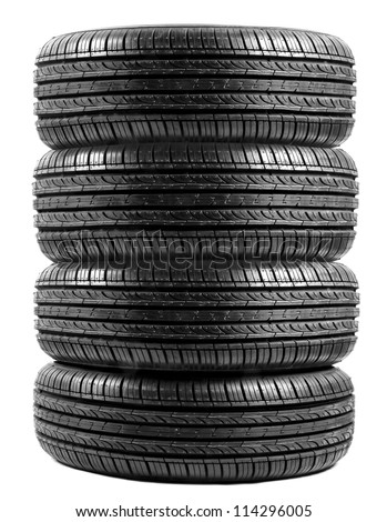 black isolation rubber tire, on the white backgrounds - stock photo
