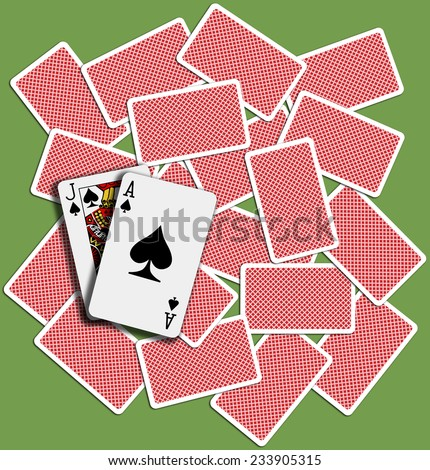 Black Jack Ace Spades blackjack hand playing card backs shuffled on casino table - stock photo