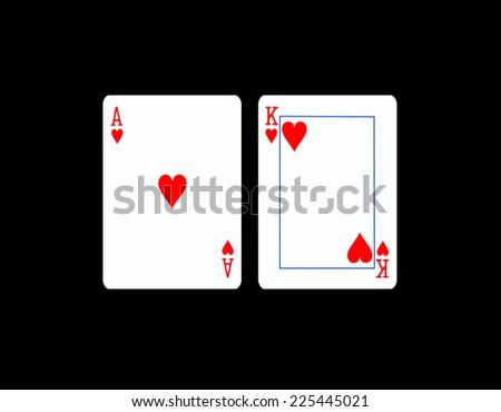 Black Jack,Two cards on black background - stock photo