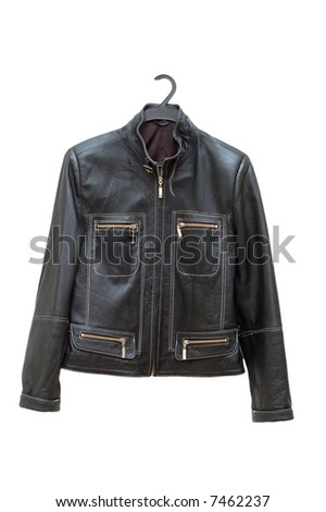 Black jacket isolated on the white backrgound - stock photo
