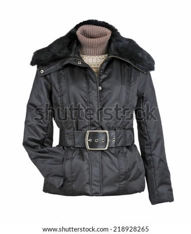 black jacket isolated on white background - stock photo