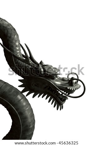 Black japanese dragon isolated on white background (CG render) - stock photo