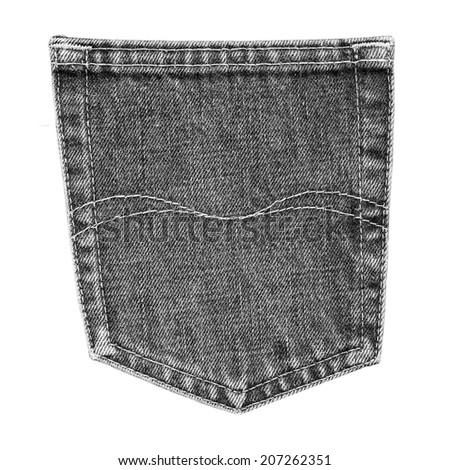 black jeans back pocket isolated on white background - stock photo