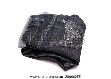 Black jeans with a beautiful embroidery on a pocket and pastes.