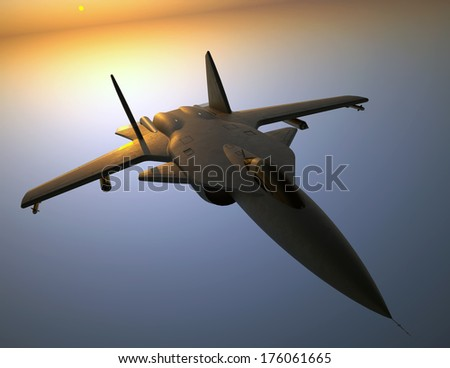 Black jet fighter - stock photo