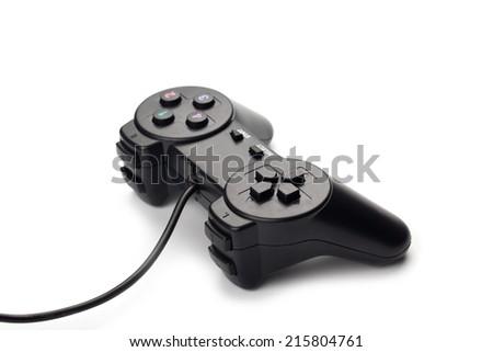 black joystick for gamer isolated on white background - stock photo