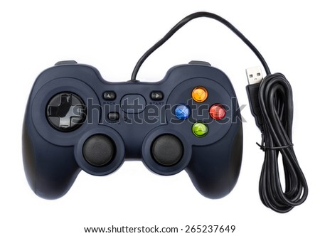 Black joystock for console video game in isolated background - stock photo