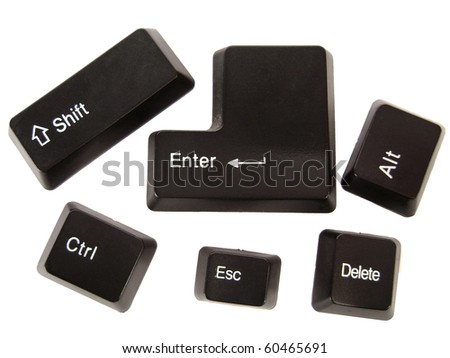 Black keyboard buttons, isolated macro - stock photo
