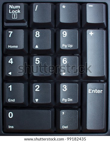 black keyboard close up, computer keys on keyboard - stock photo