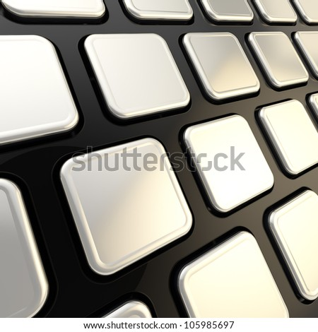 Black keyboard close-up to empty copyspace silver glossy keys