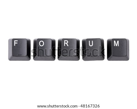 Black keyboard keys forming FORUM word over white background