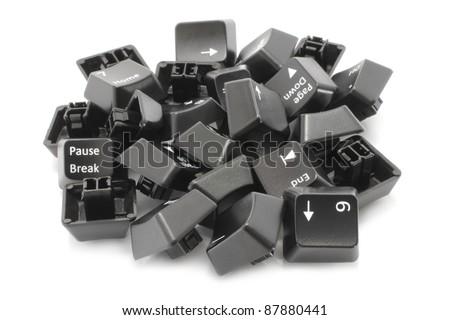 Black keyboard keys on white background - stock photo