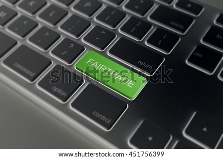 black keyboard with a green Fairtrade key