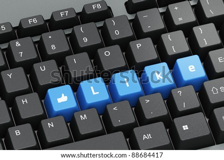 Black keyboard with blue Like buttons, social network concept