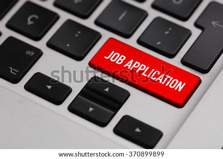 Black keyboard with JOB APPLICATION button - stock photo