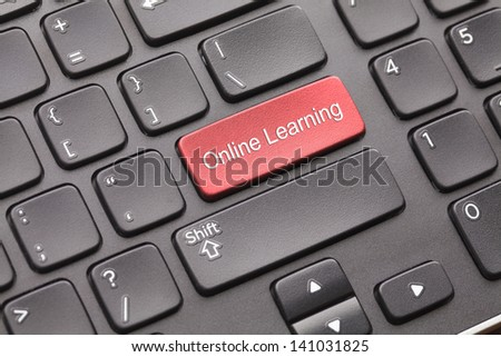 Black keyboard with red Online learningkey