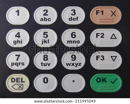 Black keypad with color button with numbers and letters  - stock photo