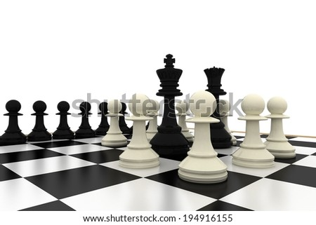 Black king and queen surrounded by white pawns on white background