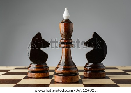 Black king and two knights on a chessboard