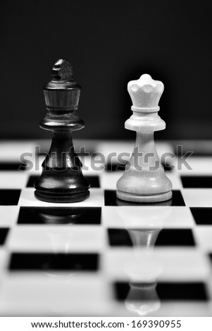 black king and white queen - stock photo