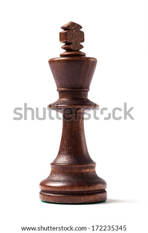Black king, wooden chess figure isolated on white background and shot in studio.