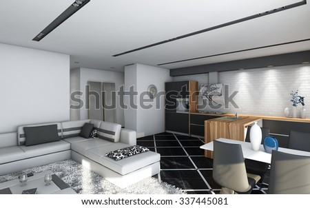 black kitchen with wood 3d Rendering