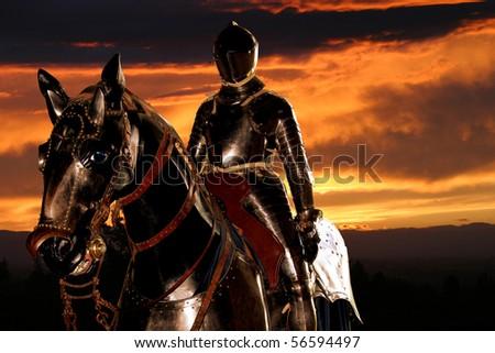 Black Knight and sunset - stock photo