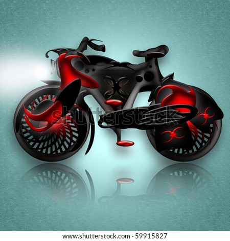 Black knight concept bike over icy background