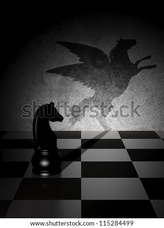 Black knight with an art shadow as a Pegasus - stock photo
