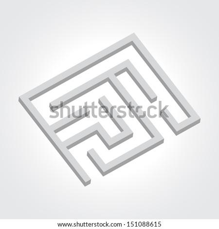 Black labyrinth. Business concept. Raster version illustration. - stock photo