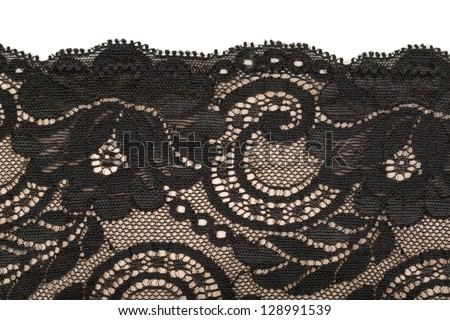 Black lace and beige pattern. Isolate on white. - stock photo