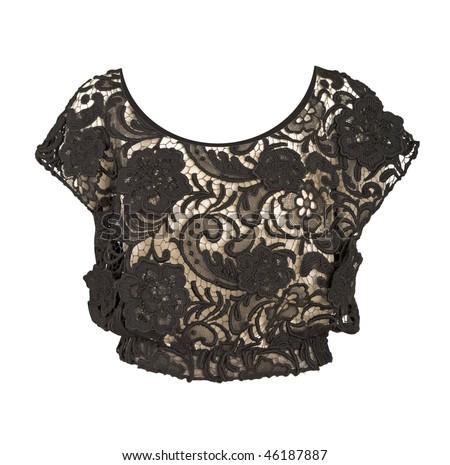 black lace blouse - stock photo