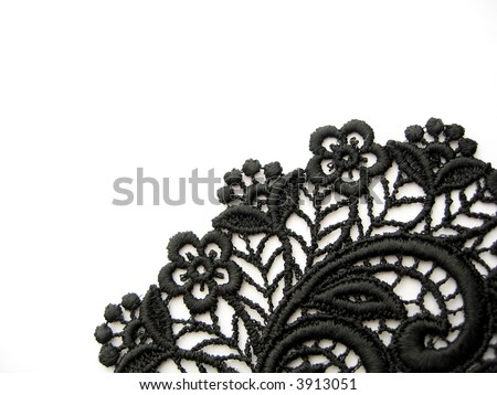 black lace on white - stock photo