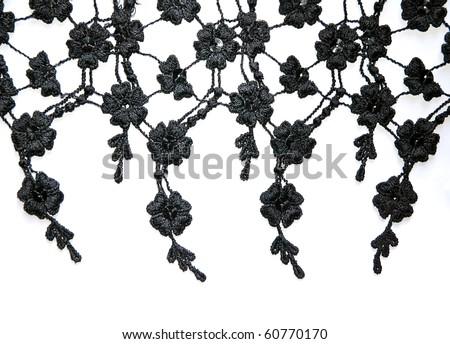 black lace on white background - stock photo
