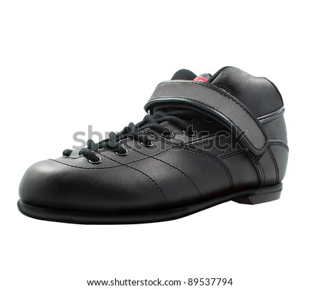 black lace-up shoe made of leather - stock photo