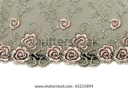 Black lace with pattern rose flowerses on white background - stock photo