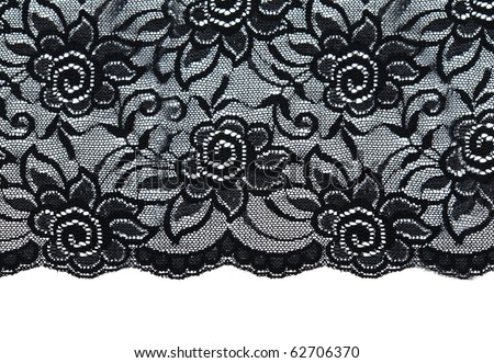 Black lace with pattern with form flower on white background