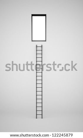 Black ladder on the wall to hole