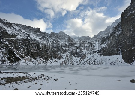 Black Lake below Mount Rysy (Czarny Staw pod Rysami), Tatra Mountains, Poland. - stock photo
