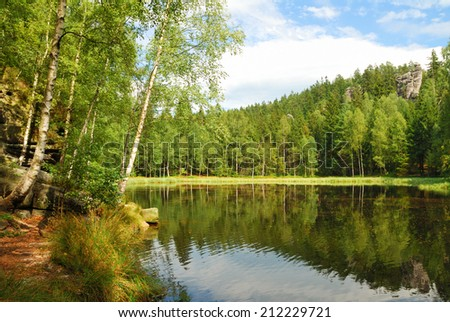 Black lake surrounded by green forest trees - stock photo