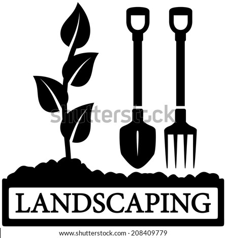 black landscaping icon with sprout and gardening tools silhouette - stock photo