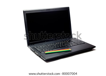 black laptop and pencil  isolated on white
