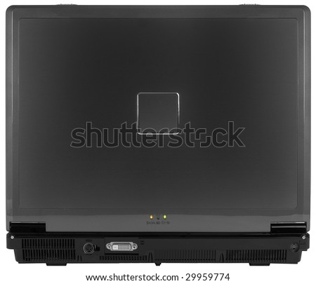 Black Laptop Computer Back View ~ Isolated On White Background - stock photo