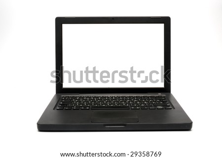 Black laptop computer (notebook) with blank screen. With clipping path.
